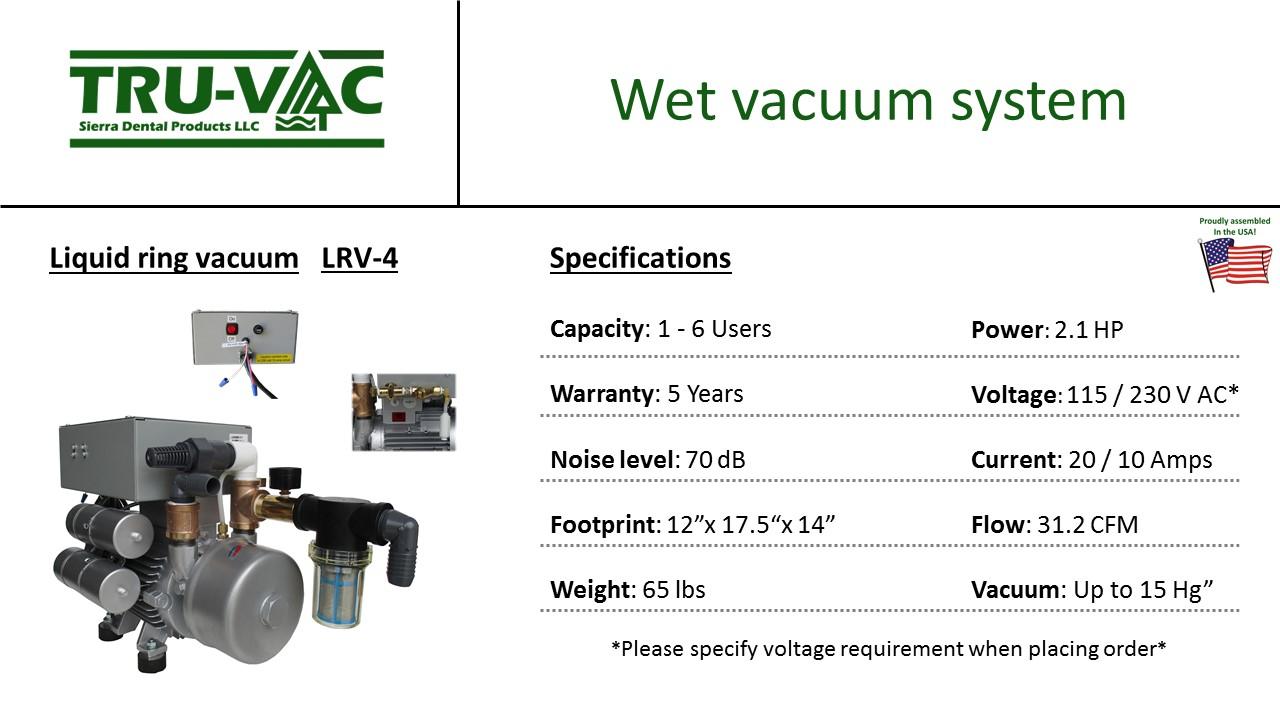 Sierra TRU-VAC Wet Vacuum System